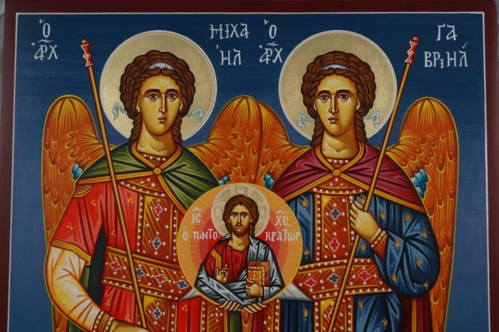 Synaxis of the Archangels Hand-Painted Greek Orthodox Icon