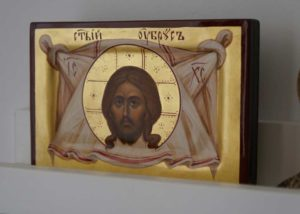 The Holy Face – Mandylion miniature Hand Painted Byzantine Orthodox Icon Ubrus