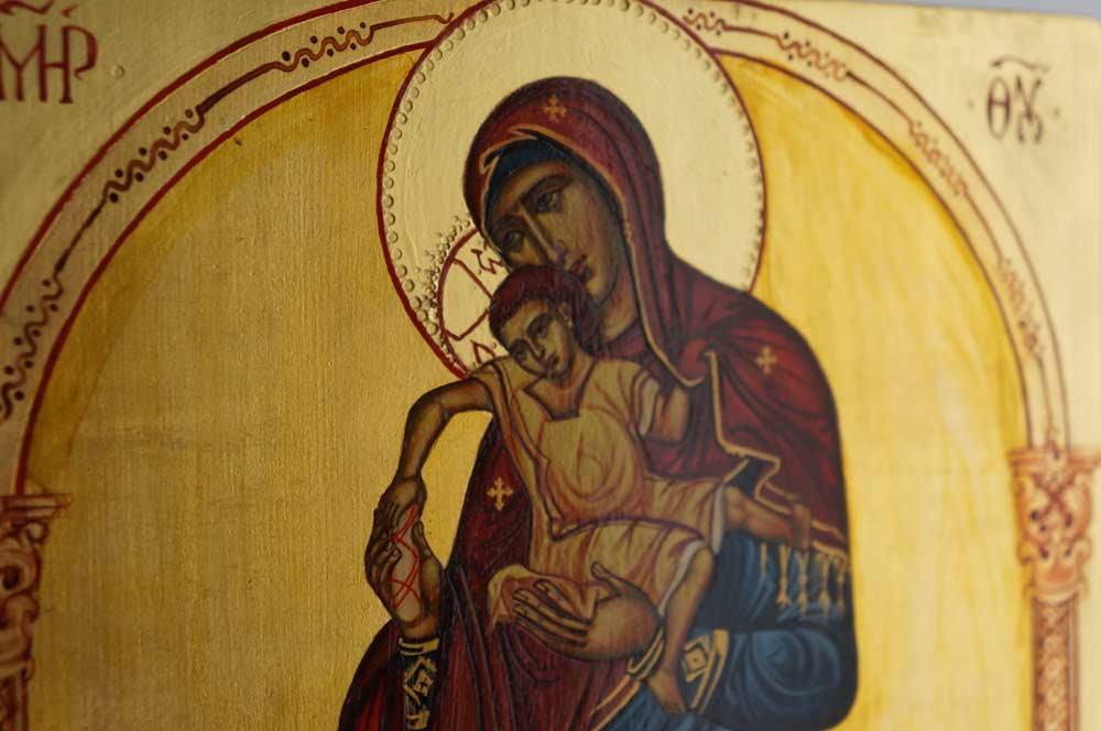 Theotokos Enthroned Hand-Painted Orthodox Byzantine Icon