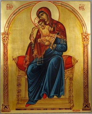 Theotokos Enthroned Hand-Painted Orthodox Byzantine Icon