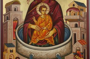 Theotokos the Life-Giving Font Spring Hand-Painted Greek Icon