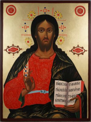 Christ the Teacher Large Hand Painted Byzantine Orthodox Icon on Wood