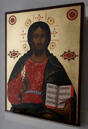 Christ the Teacher Large Hand Painted Byzantine Orthodox Icon on Wood