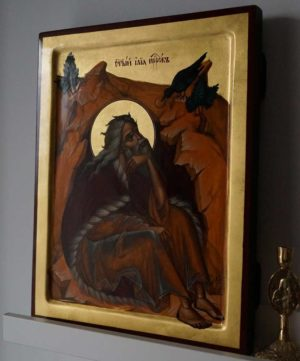 Holy Prophet Elijah (Elias) in Front of the Cave Hand-Painted Byzantine Icon