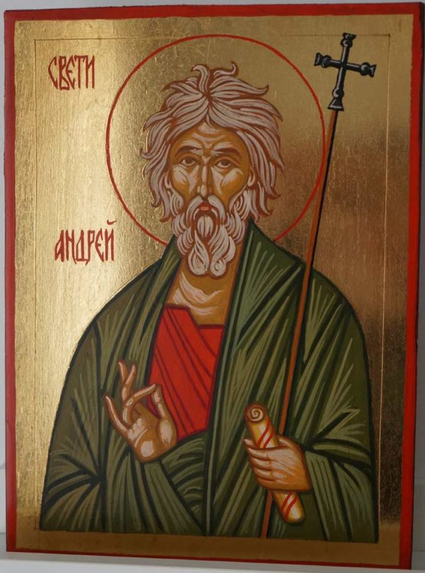 Saint Andrew the First Called Hand Painted Orthodox Icon on Wood