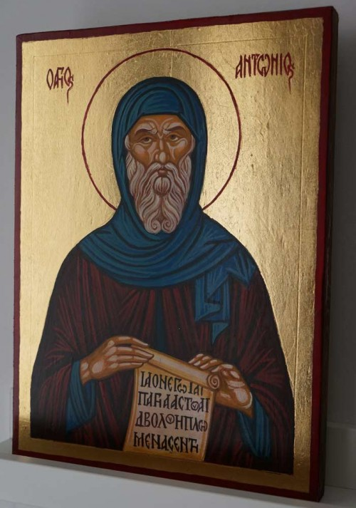Saint Anthony of Egypt Hand Painted Orthodox Icon on Wood