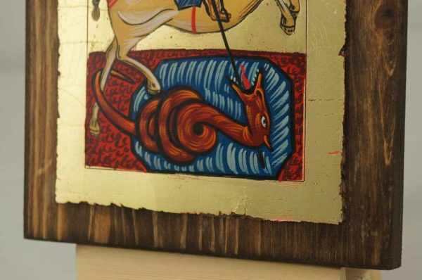 Saint George small Hand Painted Byzantine Icon on Wood