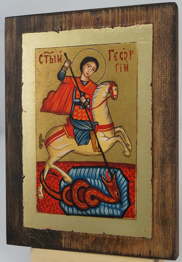 Saint George small Hand Painted Icon Byzantine Orthodox