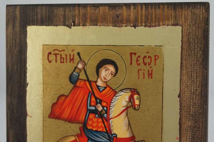 Saint George small Hand Painted Icon Byzantine Orthodox