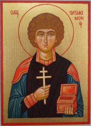 Saint Panteleimon the Healer Hand Painted Byzantine Icon