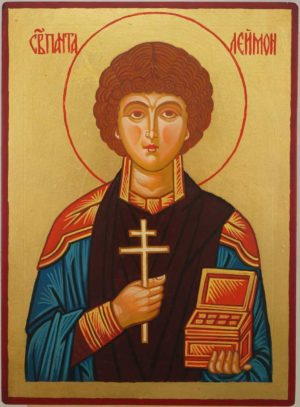 Saint Panteleimon the Healer Hand Painted Orthodox Icon on Wood