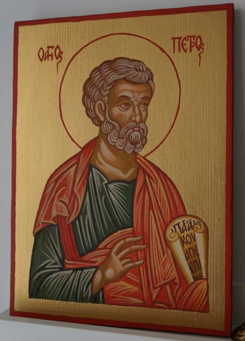Saint Peter the Apostle Hand Painted Orthodox Icon on Wood