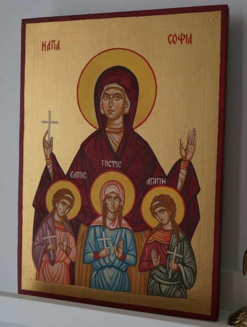 Saint Sophia the Martyr Hand Painted Byzantine Icon on Wood