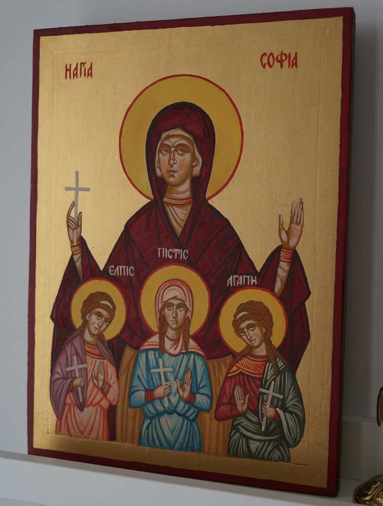 Saint Sophia the Martyr Hand Painted Byzantine Icon on Wood