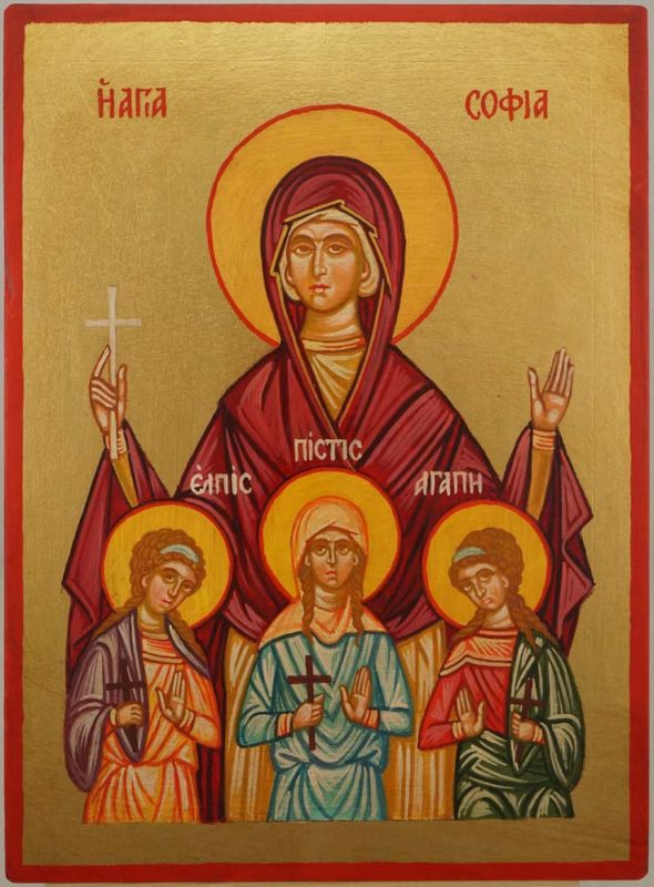Saint Sophia the Martyr Hand Painted Byzantine Orthodox Icon on Wood