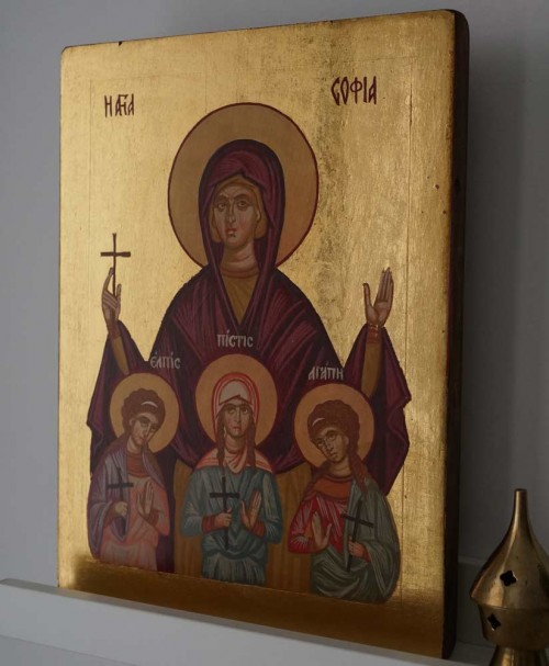 Hand-Painted Orthodox Icon of Saint Sophia the Martyr