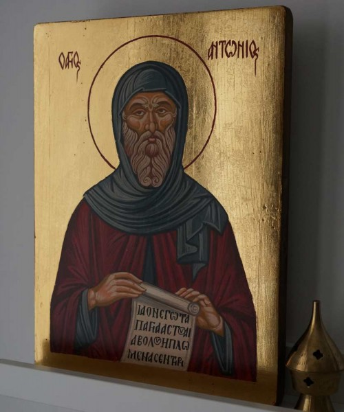 Hand-Painted Orthodox Icon of Saint Anthony of Egypt