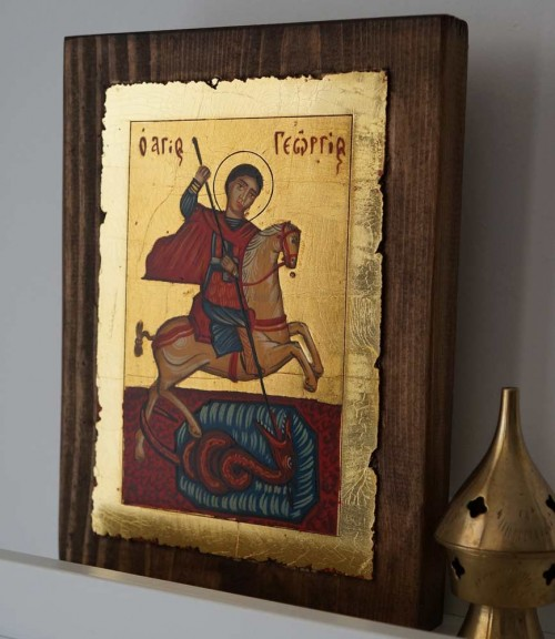 Saint St George on Horse Slaying the Dragon Hand Painted Icon