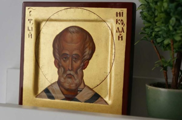Saint Nicholas Miniature Hand-Painted Byzantine Icon