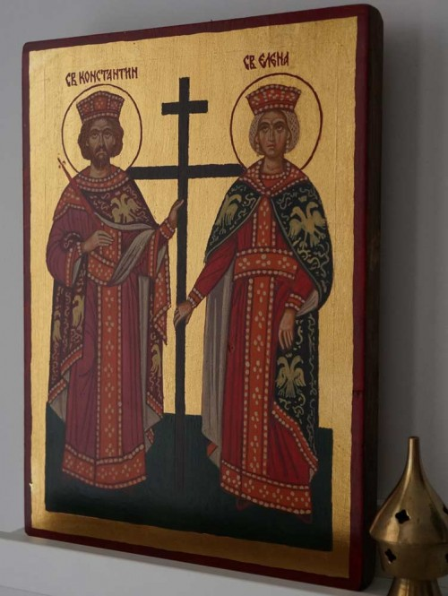 Saints Constantine and Helena Hand-Painted Byzantine Icon