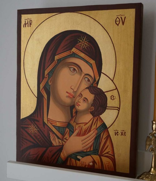Theotokos Sweet Kissing Hand Painted Byzantine Orthodox Icon on Wood