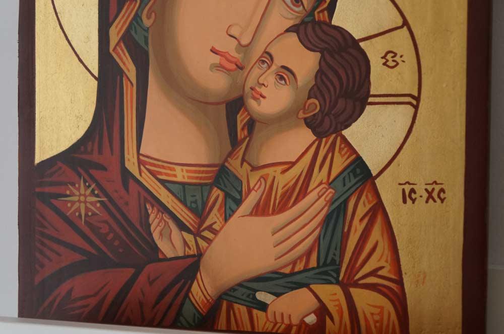 Theotokos Sweet Kissing Hand Painted Byzantine Orthodox Icon on Wood