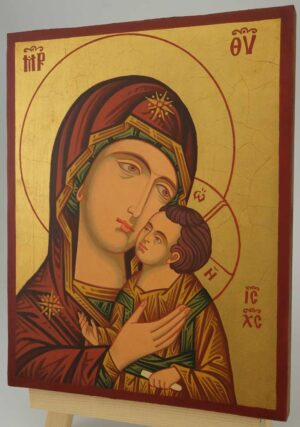Theotokos Sweet Kissing Icon Hand Painted Byzantine Orthodox