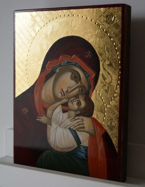 Theotokos Eleusa (polished gold) Hand-Painted Byzantine Orthodox Icon
