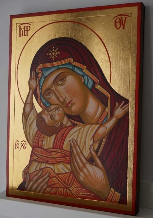Virgin Mary Kardiotissa Hand Painted Byzantine Orthodox Icon on Wood