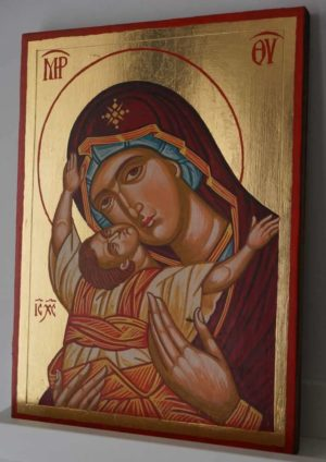 Virgin Mary Kardiotissa Hand Painted Byzantine Orthodox Icon on Wood