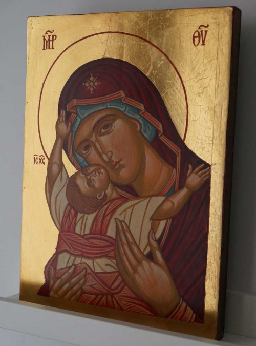Virgin Mary Kardiotissa Hand Painted Orthodox Icon on Wood