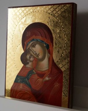 Theotokos of Vladimir (polished gold) Vladimirskaya Hand-Painted Icon