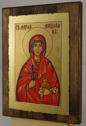 Saint Mary Magdalene small Hand Painted Orthodox Icon on Wood
