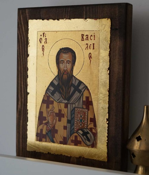 Hand-Painted Byzantine Icon of St Basil the Great (small)