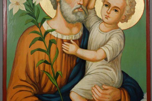 Saint Joseph Large Hand-Painted Icon Baby Jesus