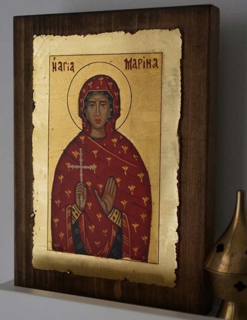 Saint St Marina Hand Painted Orthodox Icon on Wood