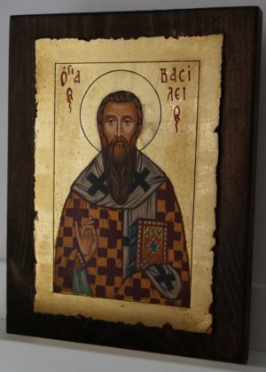 St Basil the Great small Hand Painted Byzantine Icon on Wood