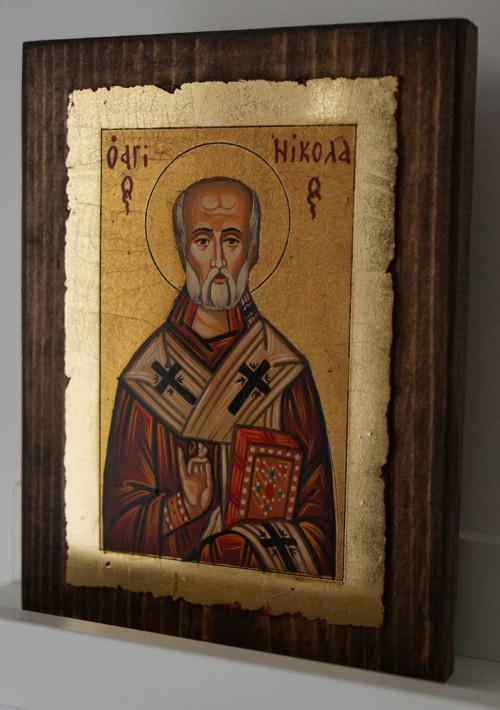 St Nicholas of Myra small Hand Painted Byzantine Icon on Wood