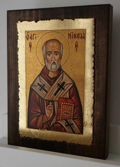 St Nicholas of Myra small Hand Painted Byzantine Icon on Wood