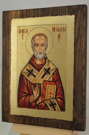 St Nicholas of Myra small Hand Painted Orthodox Icon on Wood