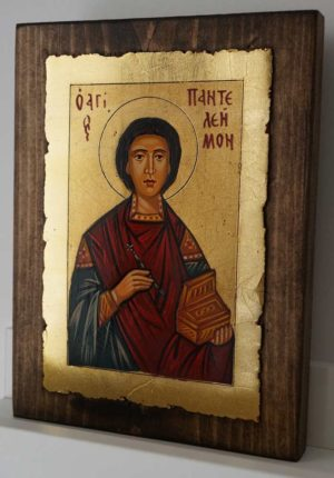 St Panteleimon Great Martyr and Healer Hand Painted Orthodox Icon on Wood