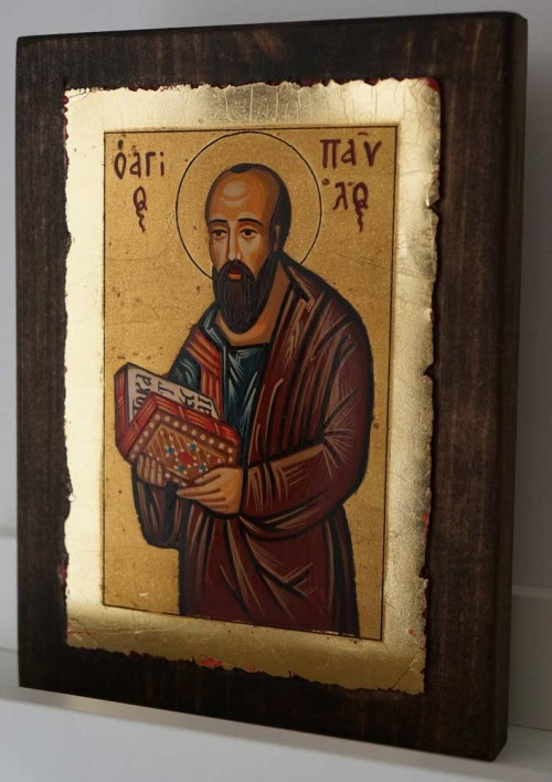 St Paul the Apostle small Hand Painted Orthodox Icon on Wood