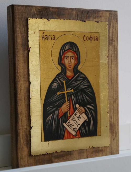 St Sophia the Martyr small Hand Painted Orthodox Icon on Wood