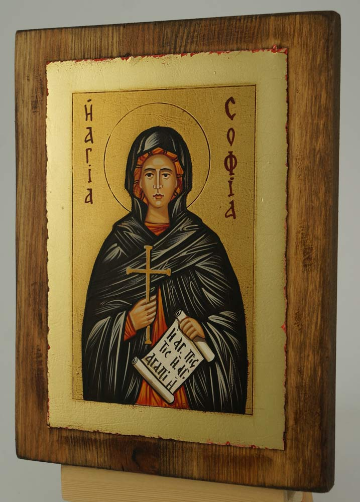 St Sophia the Martyr small Icon Hand Painted Byzantine Orthodox