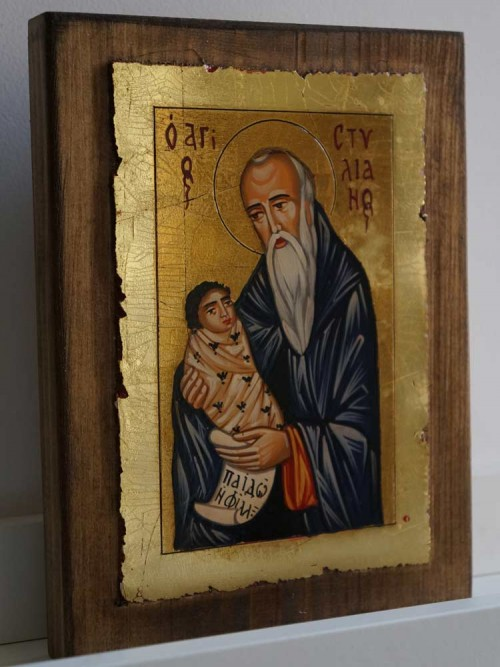 St Stylianos The Protector of Children Hand Painted Byzantine Icon on Wood