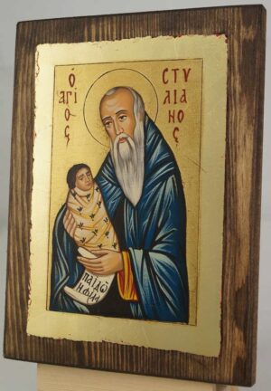 St Stylianos The Protector of Children Hand Painted Orthodox Icon on Wood