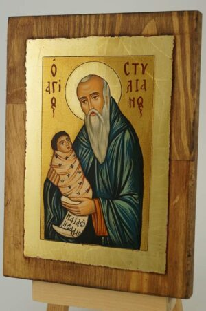 St Stylianos The Protector of Children Icon Hand Painted Byzantine