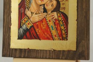 Theotokos Sweet Loving small Hand Painted Orthodox Icon on Wood