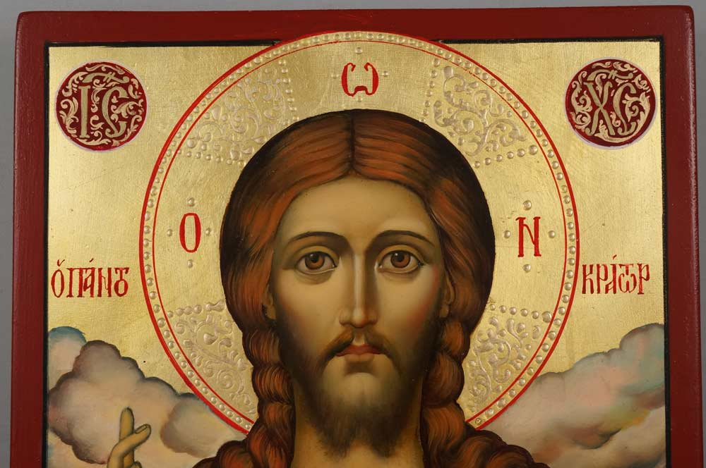 Hand-Painted Orthodox Icon of Jesus Christ Pantocrator (closed book)