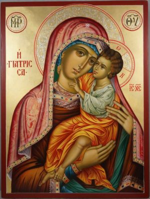 Hand-Painted Greek Orthodox Icon of Panagia Giatrissa (the Healer)